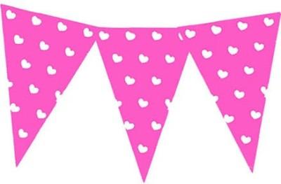 Planet Jashn Planet Jashn Heart Printed Buntings - Dark Pink Pennant Flag
