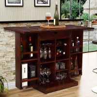 Indian Hub IH-62 Solid Wood Bar Cabinet(Finish Color - Walnut)