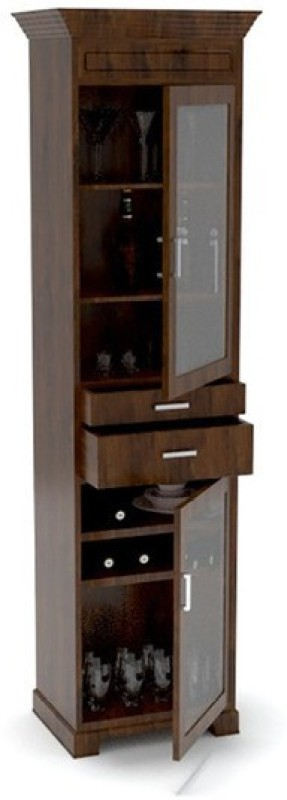 Tezerac Solid Wood Bar Cabinet(Finish Color - Natural)