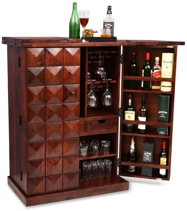 View Ethnic Handicrafts Solid Wood Bar Cabinet(Finish Color - Brown) Furniture (Ethnic Handicrafts)