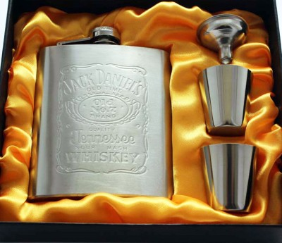 Pia International 70Z EMBOSSED HIP FLASK GIFT SET Bar Set(Stainless Steel)