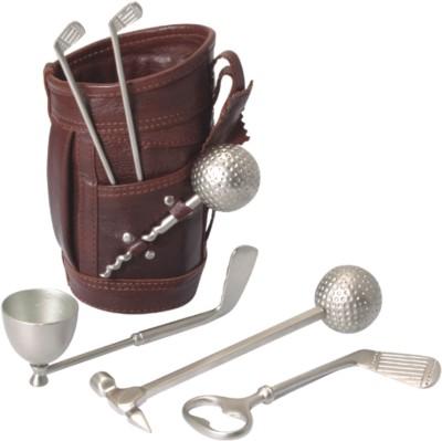 Ravenn Leather Golf Bar Set 7 - Piece Bar Set(Brass)