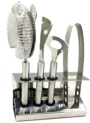 THW Bar Strainer, Bar Knife, Bottle Opener & Ice Tong with Bar tools stand 5 - Piece Bar Set