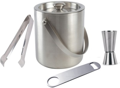 THW Ice Bucket, Tong, Bottle Opener & Peg Measurer 4 - Piece Bar Set(Stainless Steel)