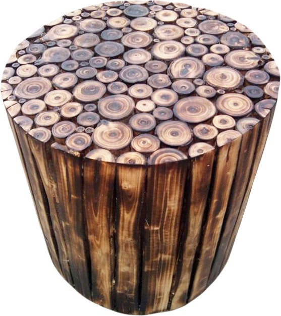 View The Woods Hut Solid Wood Bar Stool(Finish Color - Burn Finish) Furniture (The Woods Hut)