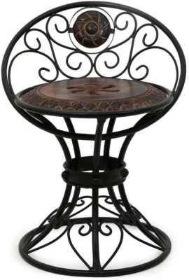 Onlineshoppee Wooden & Wrought Iron Chair Solid Wood Bar Chair