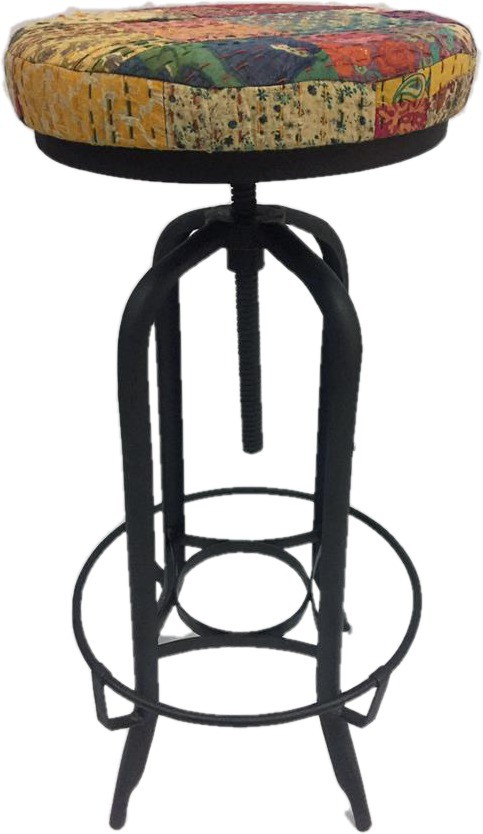 View LALJI HANDICRAFTS Fabric Bar Stool(Finish Color - BLACK) Furniture (LALJI HANDICRAFTS)
