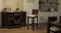 Urban Ladder Oribi Solid Wood Bar Stool(Finish Color - Mahogany)