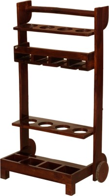 Induscraft Solid Wood Bar Trolley(Finish Color - Brown)