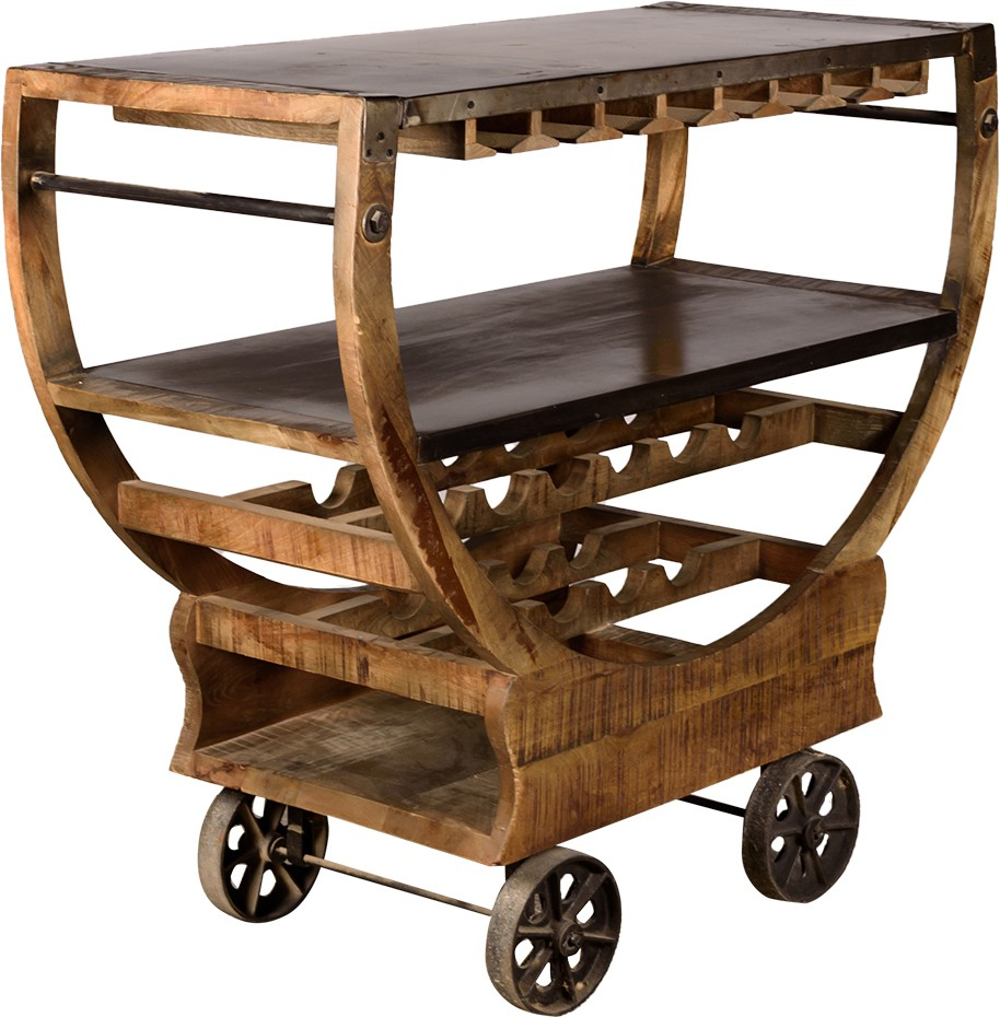 Rishabh Art Solid Wood Bar Trolley class=