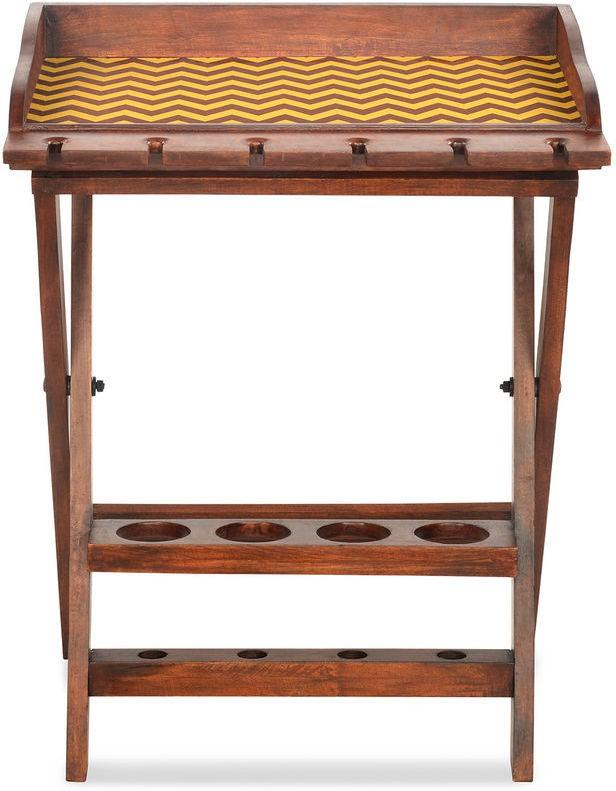 @home by Nilkamal Chevron Solid Wood Bar Trolley class=
