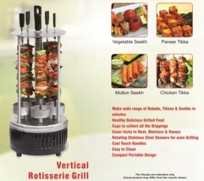 Clearline Vertical Rotisserie Grill - Grill Machine - Tandoor Grill Electric Grill(Black)