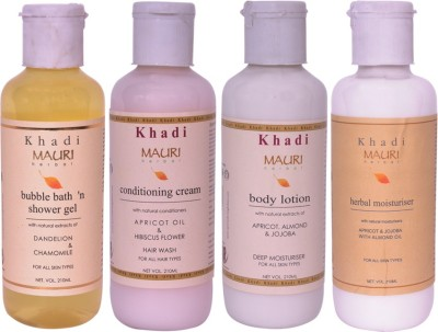 Khadimauri Combo Pack - Bubble Bath, Conditioning Cream Shampoo, Body Lotion & Herbal Moisturizer - Pack of 4