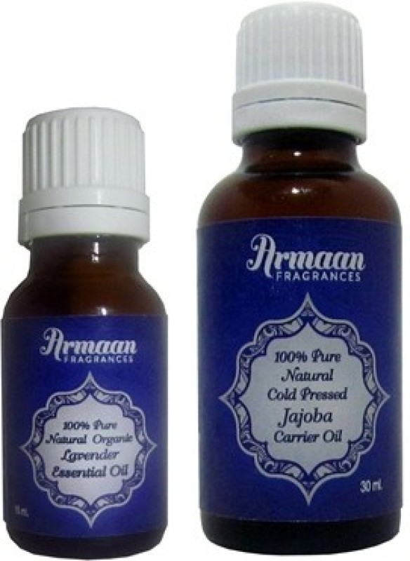 Armaan Jojoba Carrier Oil and Lavender Essential oil , disinfects hair and scalp , treats acne and reduces stress(45 ml)