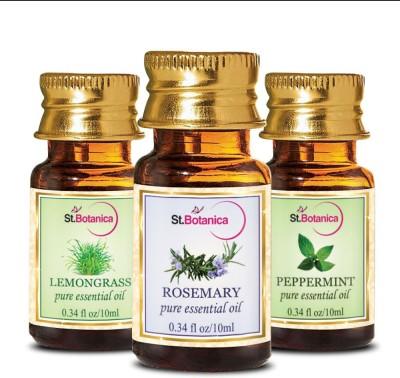 StBotanica Lemongrass + Rosemary + Peppermint Pure Essential Oil (10ml Each)