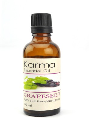 Karmakara 100% pure Therapeutic Grade undiluted essential oils in 50 ml Bottles-grapeseed oil