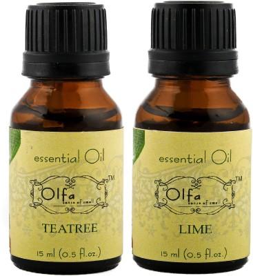 Olfa Tea Tree Essential Oil & Lime Essential Oil Combo (Pack Of 2) 15ml+15ml