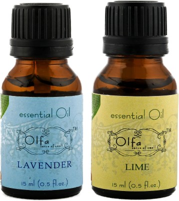 Olfa Lavender Essential Oil & Lime Essential Oil Combo (Pack Of 2) 15ml+15ml