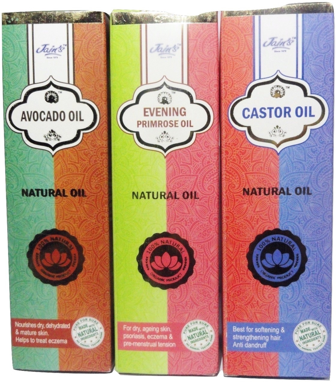 Jains Set of 3 Natural (Base/carrier) Oil (Avocado, Castor and Evening Prime Rose ,100 ml each,100% Natural and Organic)(300 ml)