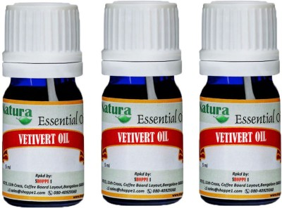 Natura Vetivert (Vetiveria Zizanoides) Natural Essential Oil pack of 3