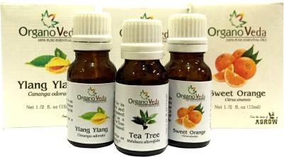 Organo Veda Combo of Natural Orange + Tea Tree + Ylang Ylang