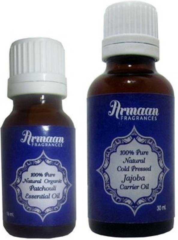 Armaan Jojoba Carrier Oil and Patchouli Essential oil for hair growth and acne and scar free skin and treatment of sexual disorders and attract opposite gender(45 ml)