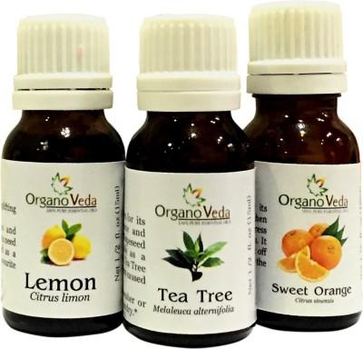 Organo Veda Combo of Natural Tea Tree + Orange + Lemon