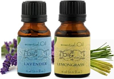 Olfa Lavender Essential Oil & Lemongrass Essential Oil Combo (Pack Of 2) 15ml+15ml