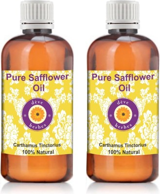 Deve Herbes Pure Safflower Oil - Pack Of Two (100ml + 100ml) Carthamus Tinctorius 100% Natural Cold Pressed
