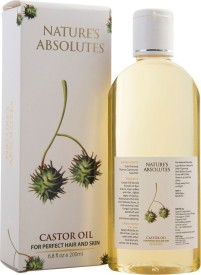 Nature's Absolutes Organic Castor Carrier Oil - 200 ml - Cold Pressed & Pure Premium Oil With Incredible Benefits For Hair, Skin, Eyelashes, Eyebrows & Nails(200 ml)