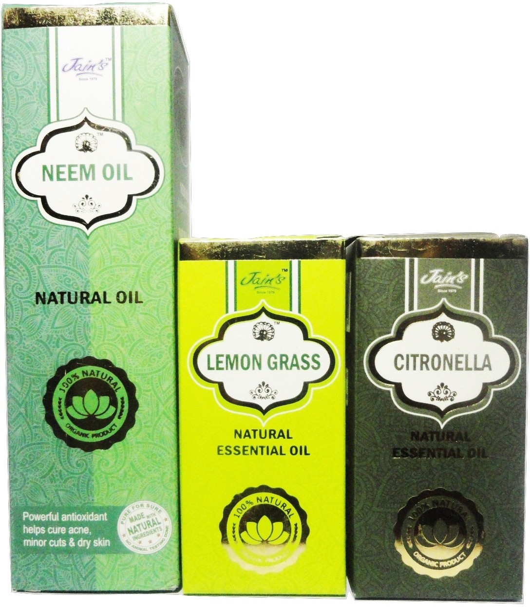 Jains Set of 3 (1 Neem Natural/Base/carrier 100 ml Oil and 2 Essential Lemon Grass and Citronella (10 ml each)(120 ml)