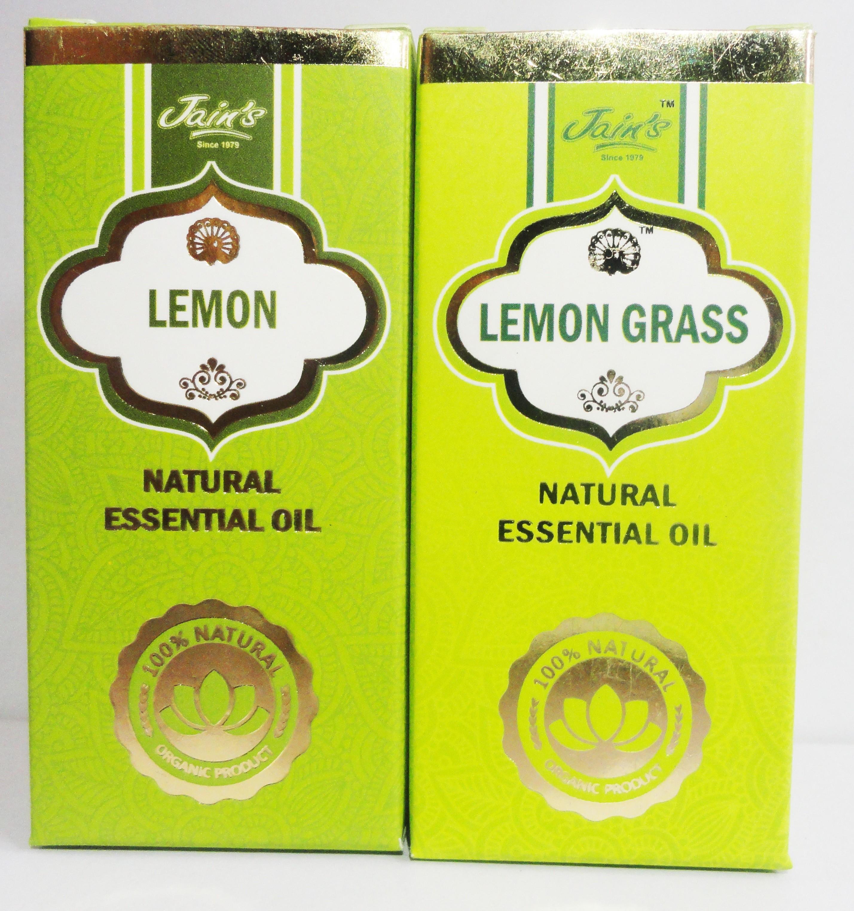 Jains Set of 2 Natural Essential Oil (10 ml each) Scent: Lemon, Lemon Grass(20 ml)