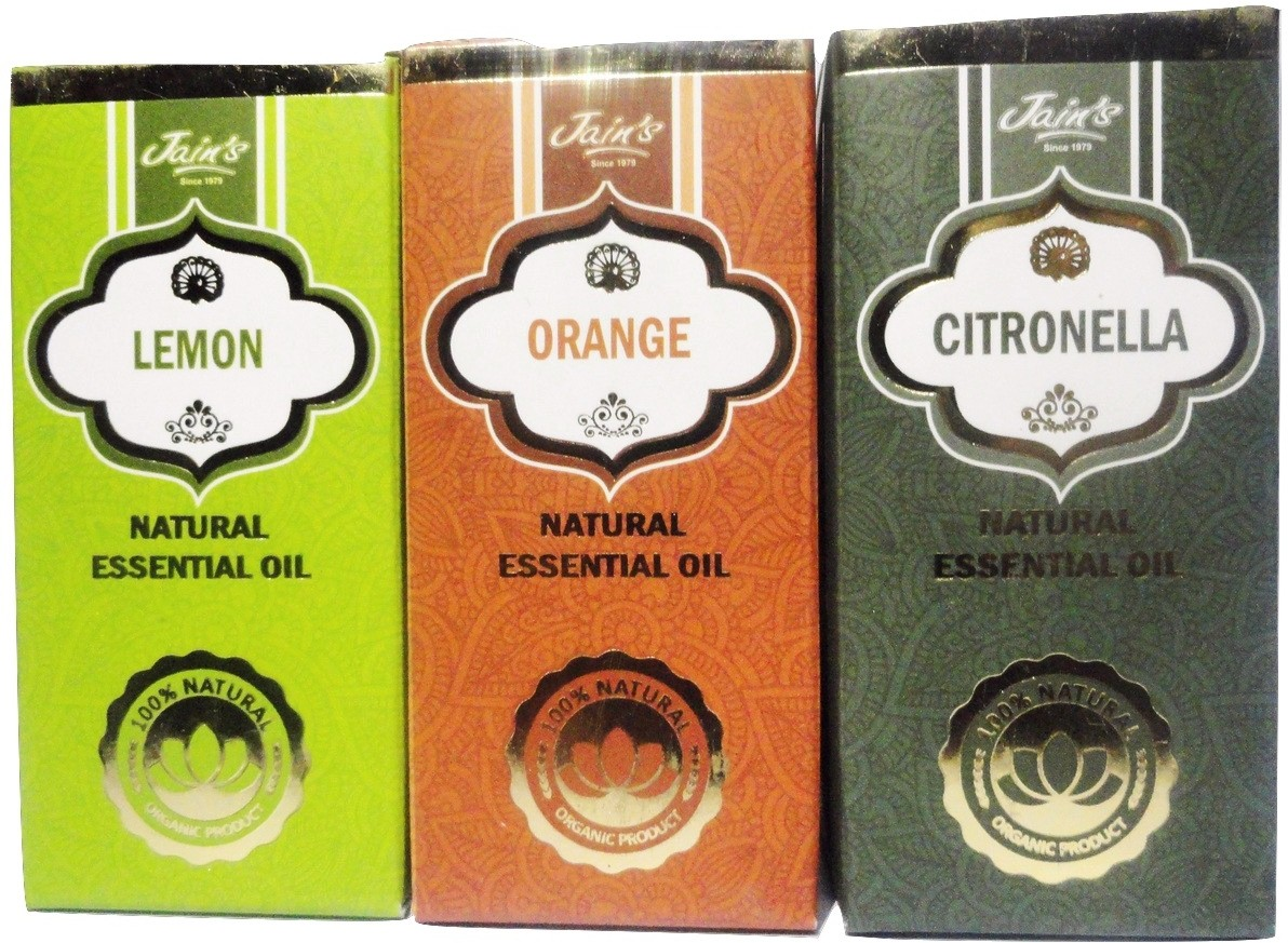 Jains Set of 3 Natural Essential Oil (10 ml each) Scent: Orange, Lemon and Citronella(30 ml)