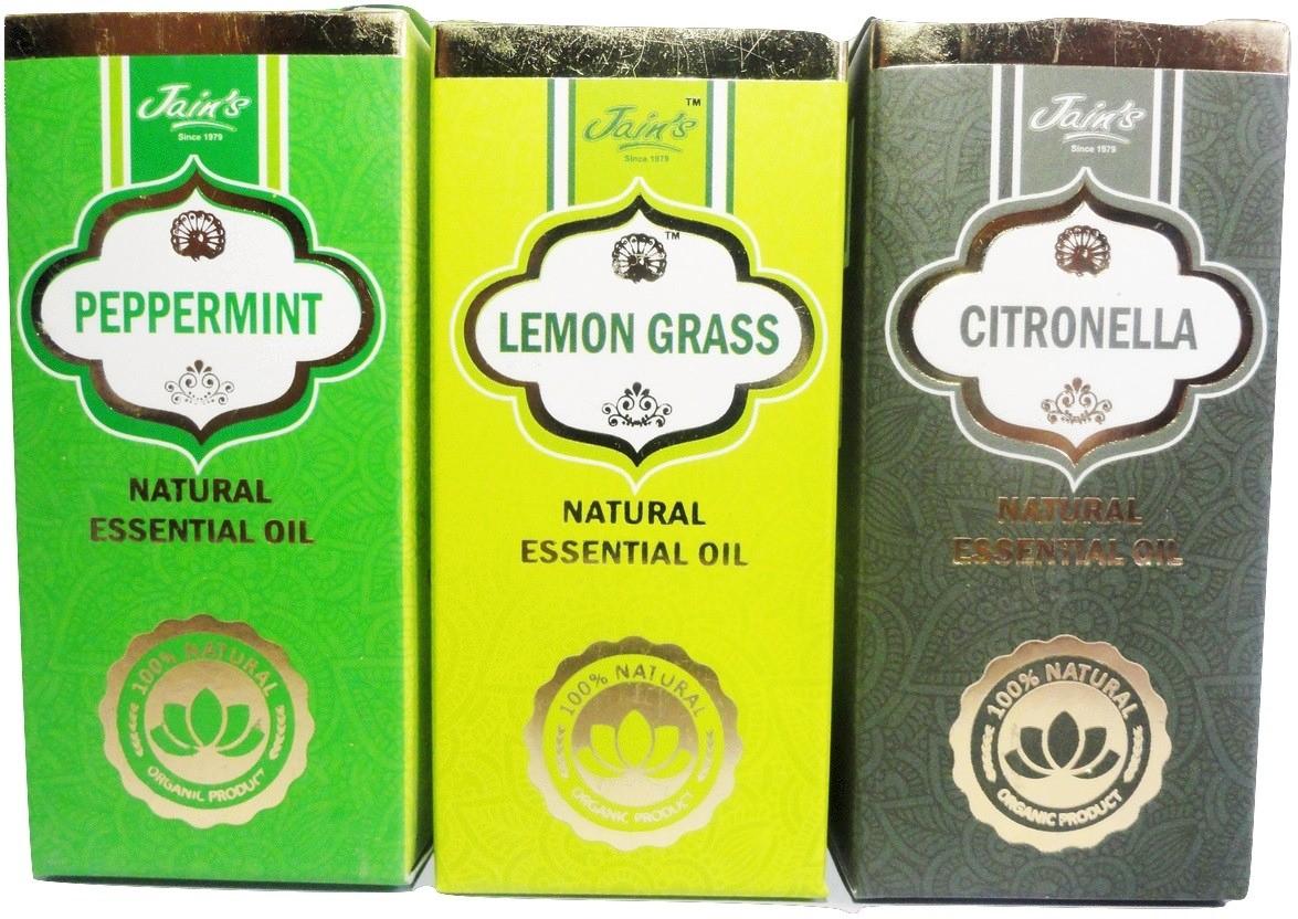 Jains Set of 3 Natural Essential Oil (10 ml each) Scent: Peppermint, Lemongrass, Citronella(30 ml)