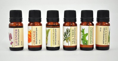 karmakara Set Of 6, 100% Pure Therapeutic Essential Oils Lavender, Tea Tree, Eucalyptus, Orange, Lemon Grass, Peppermint 10ml