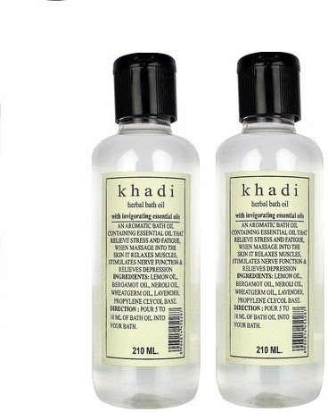 Khadi Natural Bath Oil with Invigorating Essential Oil - Pack of 2(420 ml)