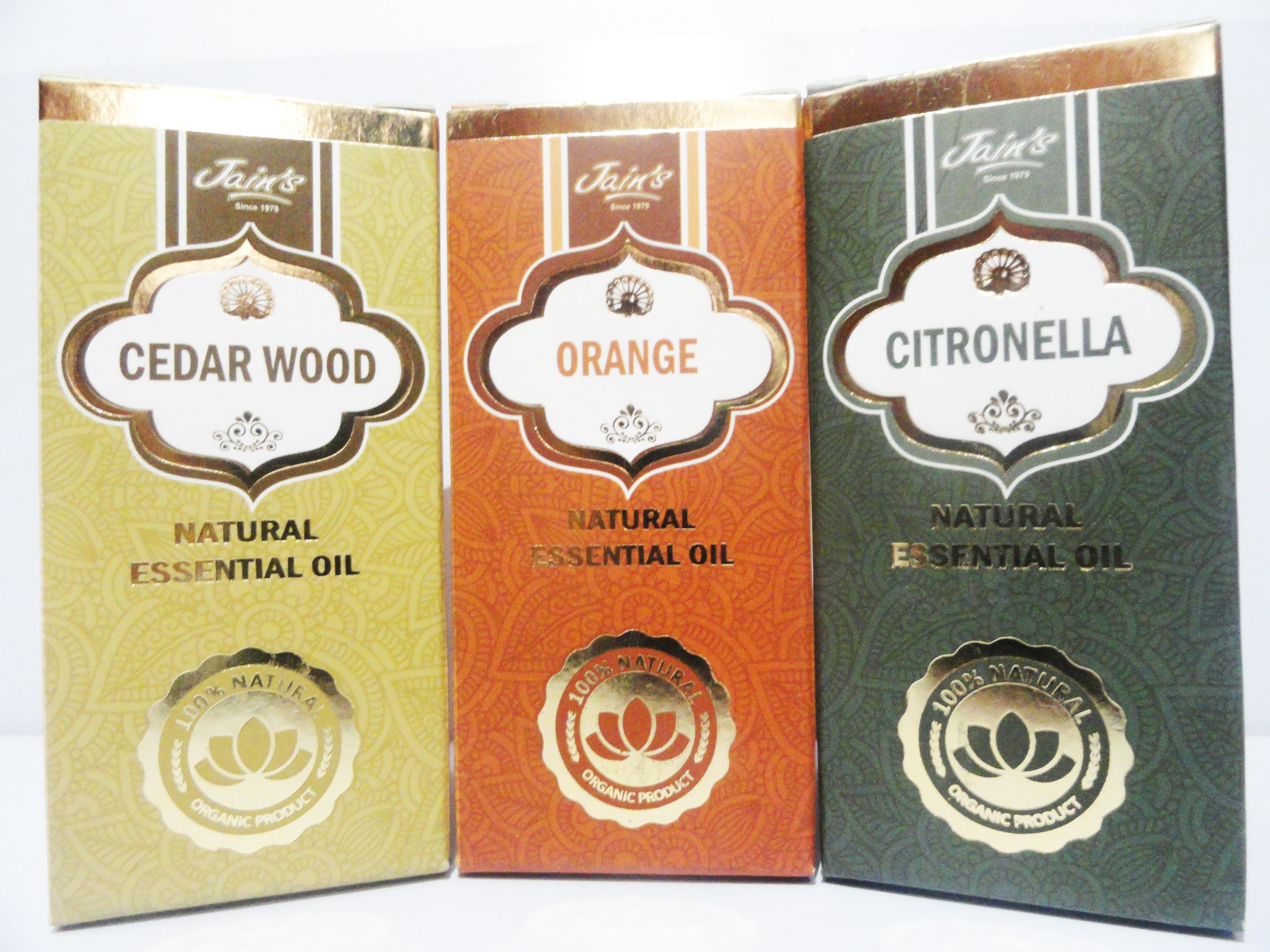 Jains Set of 3 Natural Essential Oil (10 ml each) Scent: Cedar Wood, Orange, Citronella(30 ml)