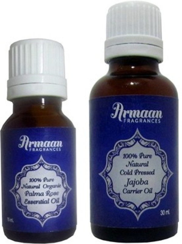 Armaan jojoba carrier oil and palmarosa essential oil for dry skin, eczema, and psoriasis(45 ml)