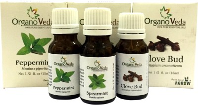 Organo Veda Combo of Natural Spearmint+ Peppermint+ Clove Bud Essential oils, Minty and refreshing breathe