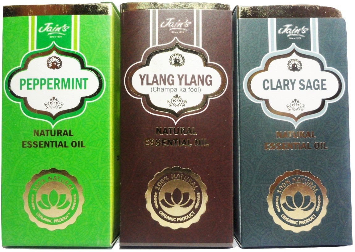 Jains Set of 3 Natural Essential Oil (10 ml each) Scent: Peppermint, Ylang Ylang, Clary Sage(30 ml)