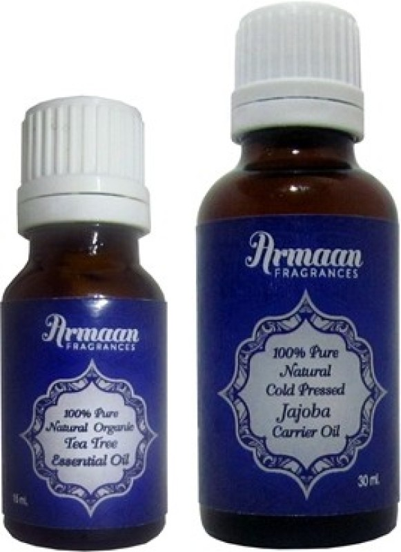 Armaan Jojoba oil and tea tree essential oil combo for dandruff free hair and acne and scar free skin(45 ml)