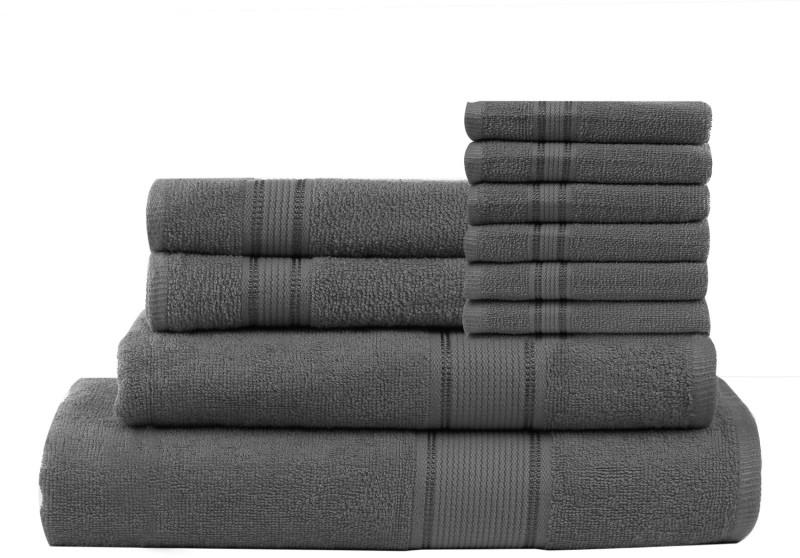 Calico Touch 10 Piece Cotton Bath Linen Set(Grey, Pack of 10)