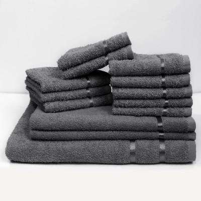Story@home 13 Piece Cotton Bath Linen Set(Grey, Pack of 13)