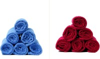 Calico Touch 12 Piece Cotton Bath Linen Set(Blue, Maroon, Pack of 12)