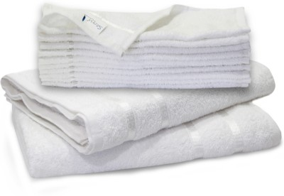Story@home 11 Piece Cotton Bath Linen Set(White, Pack of 11)