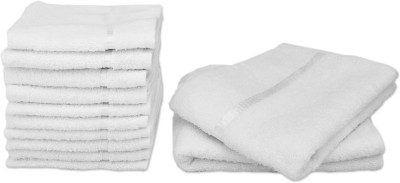 Story@home 12 Piece Cotton Bath Linen Set(White, Pack of 12)