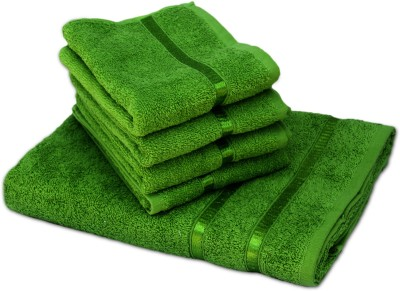 Story@home 5 Piece Cotton Bath Linen Set(Green, Pack of 5)