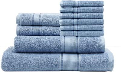 Calico Touch 10 Piece Cotton Bath Linen Set(Light Blue, Pack of 10)