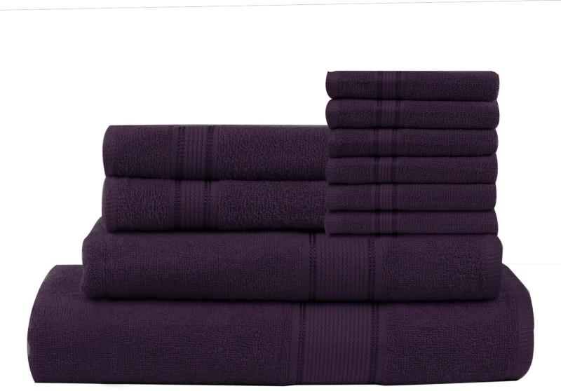 Calico Touch 10 Piece Cotton Bath Linen Set(Purple, Pack of 10)
