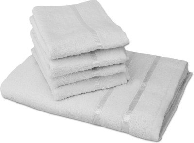 Story@home 5 Piece Cotton Bath Linen Set(White, Pack of 5)